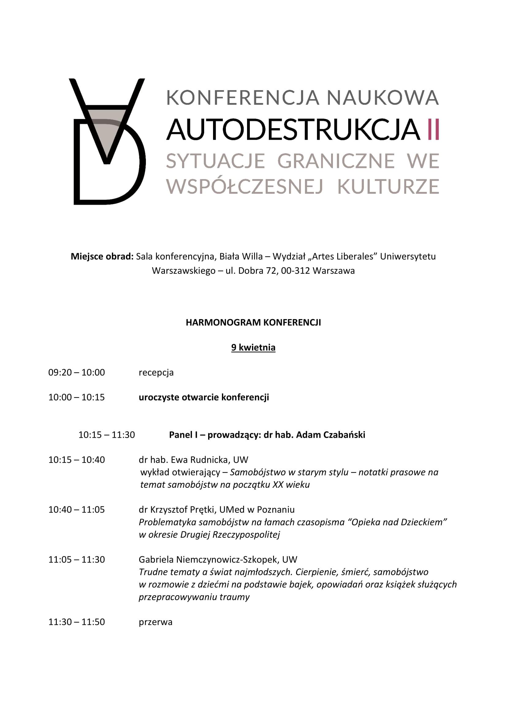 Harmonogram konferencji 'Autodestrukcja II. Sytuacje graniczne we współczesnej kulturze' - 9-10.04.19-1