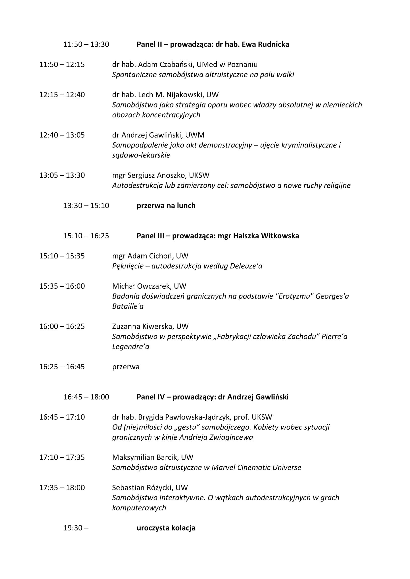 Harmonogram konferencji 'Autodestrukcja II. Sytuacje graniczne we współczesnej kulturze' - 9-10.04.19-2