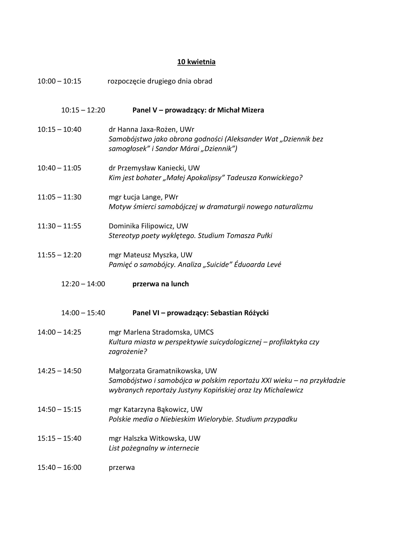 Harmonogram konferencji 'Autodestrukcja II. Sytuacje graniczne we współczesnej kulturze' - 9-10.04.19-3