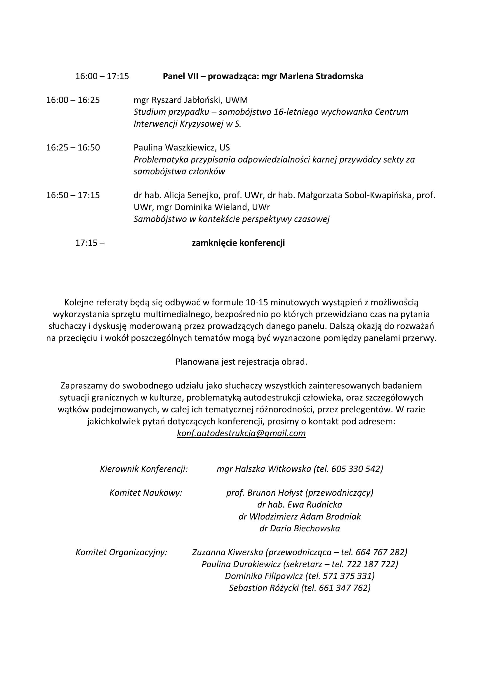 Harmonogram konferencji 'Autodestrukcja II. Sytuacje graniczne we współczesnej kulturze' - 9-10.04.19-4