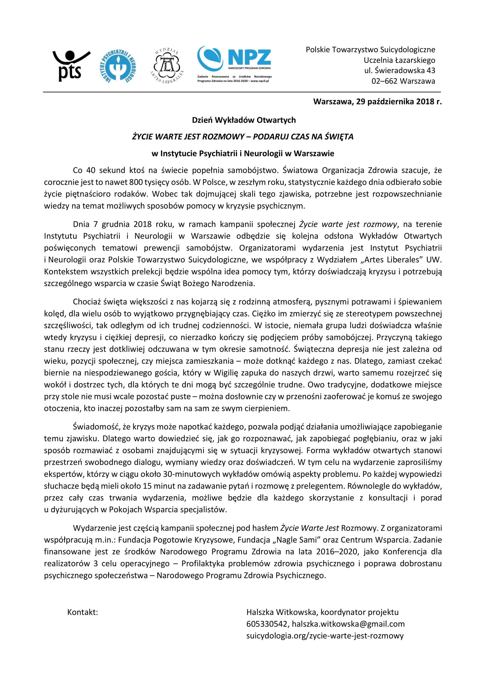 Komunikat prasowy - Życie warte jest rozmowy - PTS, 29.10.2018-1