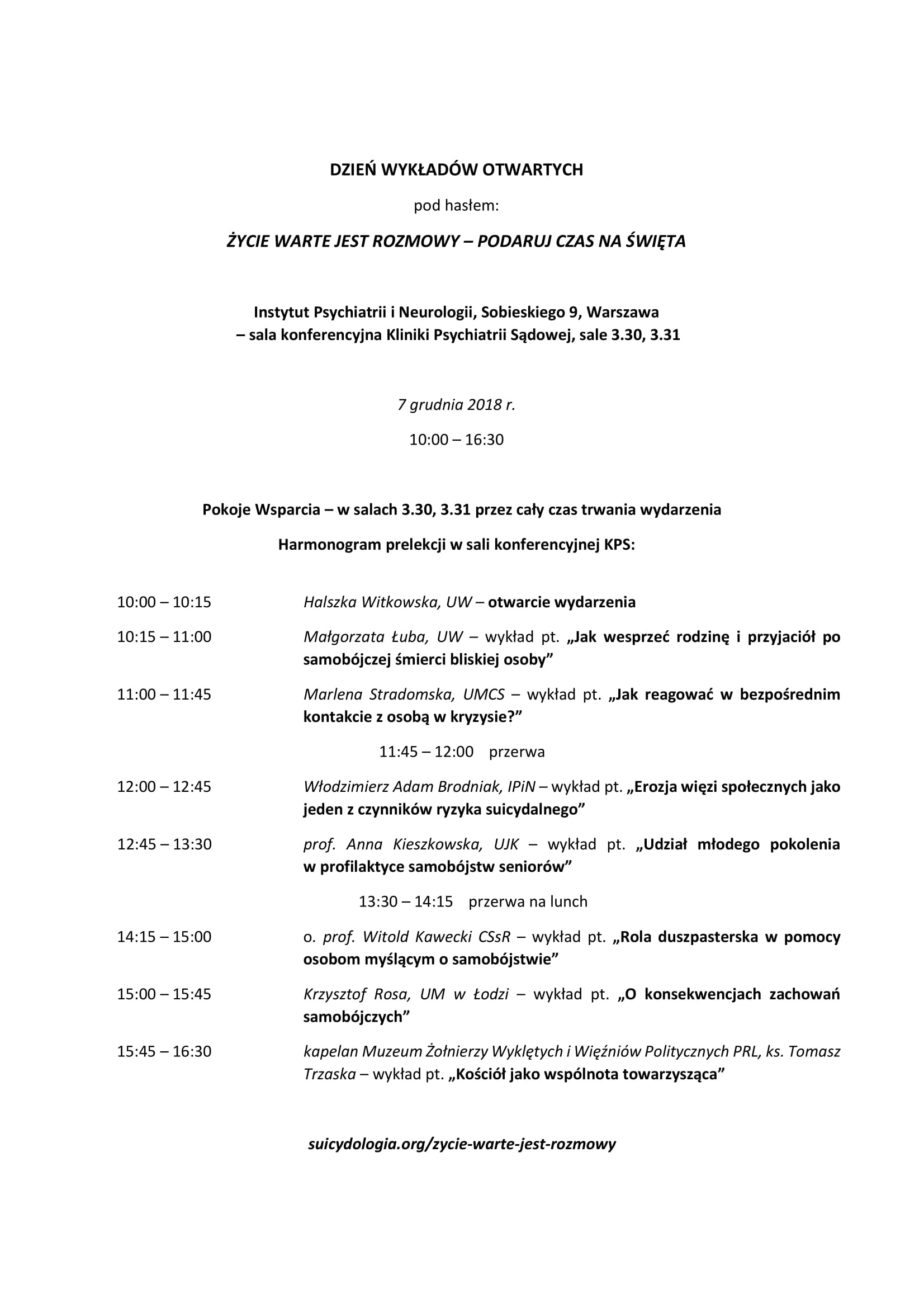 Komunikat prasowy - Życie warte jest rozmowy - PTS, 29.10.2018-2
